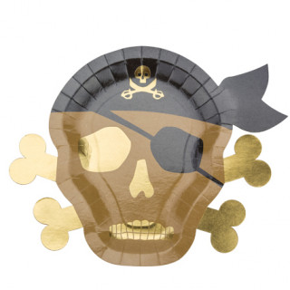 Assiette pirate kraft et or x8 - 26x33cm