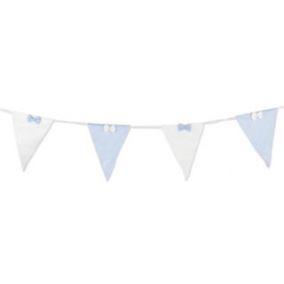 Guirlande fanions en tissu bleu et blanc - 15x17x2.80m