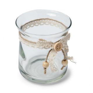 Photophore champêtre verre et dentelle ivoire 8.5x9cm