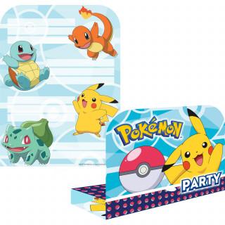 invitations + enveloppes anniversaire Pokémon x8