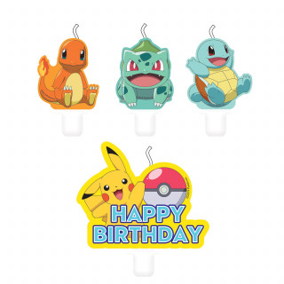 Bougies anniversaire Pokemon x4