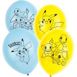Ballons Pokemon bleu ciel et jaune x6