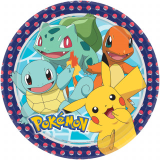 Assiettes en carton Pokemon x8 - 23 cm