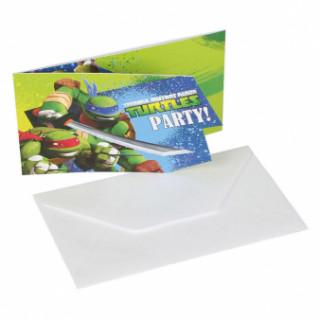 6 invitations et enveloppes Tortues Ninja