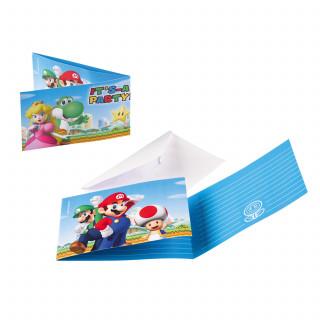 8 invitations et enveloppes Super Mario