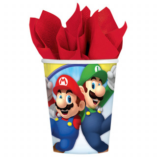 8 gobelets en carton Super Mario 250 ml
