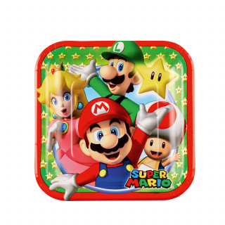 8 assiettes en carton Super Mario 17,7 x 17,7 cm