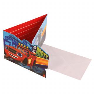 8 invitations et 8 enveloppes anniversaire Blaze