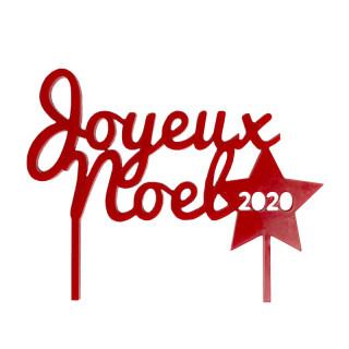 Cake topper Joyeux Noel rouge