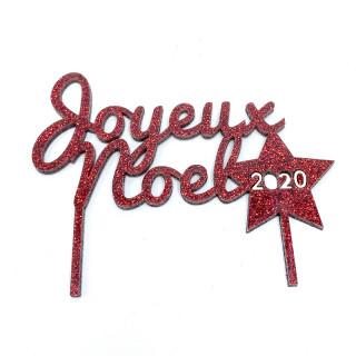 Cake topper Joyeux Noel rouge paillettes