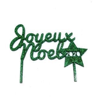 Cake topper Joyeux Noel vert