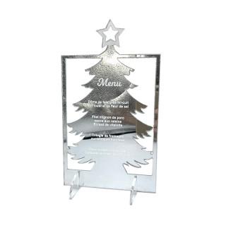 Menu de Noël personnalisé miroir sur pied