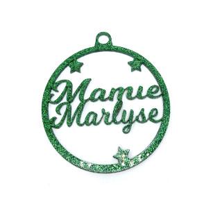 Boule Noël personnalisée vert pailletée