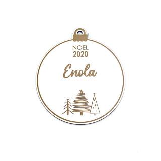 Boule Noël  personnalisée blanche et bois