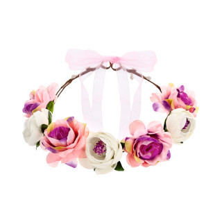 Couronne de fleur rose et blanche mariage - 17cm