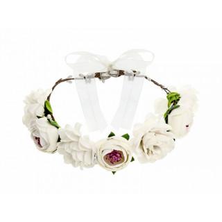 Couronne de fleur blanche mariage - 17cm