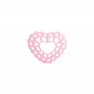 x15 Stickers coeur en dentelle rose
