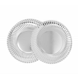 Assiette carton métallisée argent 24 cm
