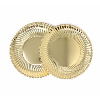 Assiette carton métallisée or 24 cm