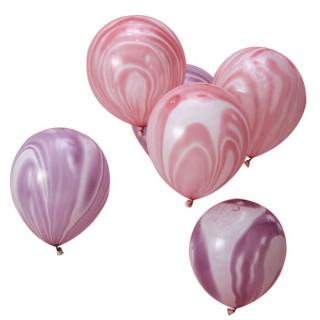 Ballons rose et violet marbré x10