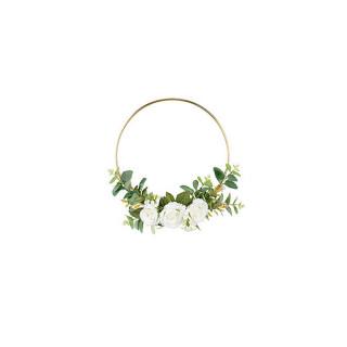Couronne dorée avec roses blanches 32cm