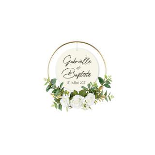Couronne personnalisée avec roses blanches 32cm