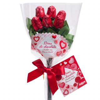 Bouquet Fleurs Chocolat Saint Valentin x6