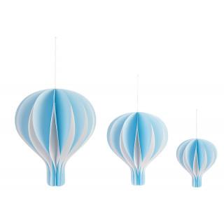 Montgolfière 20 cm en papier bleu