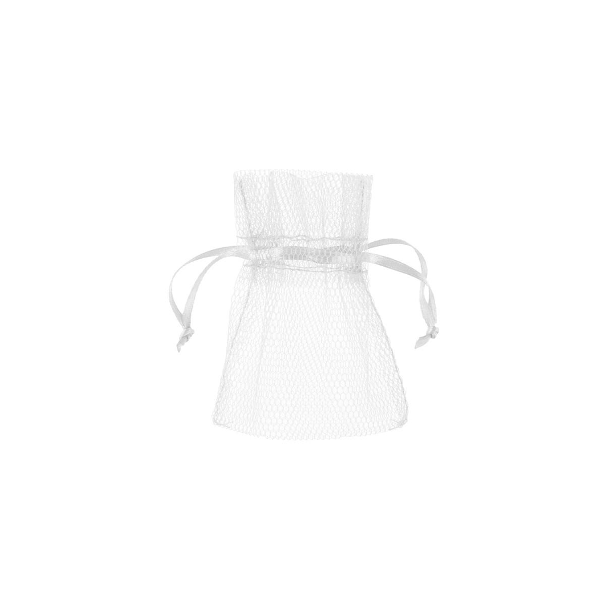 10 x Sachet Dragées Tulle - Blanc