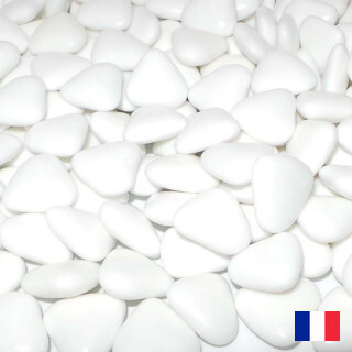 1kg Dragees chocolat coeur Blanc