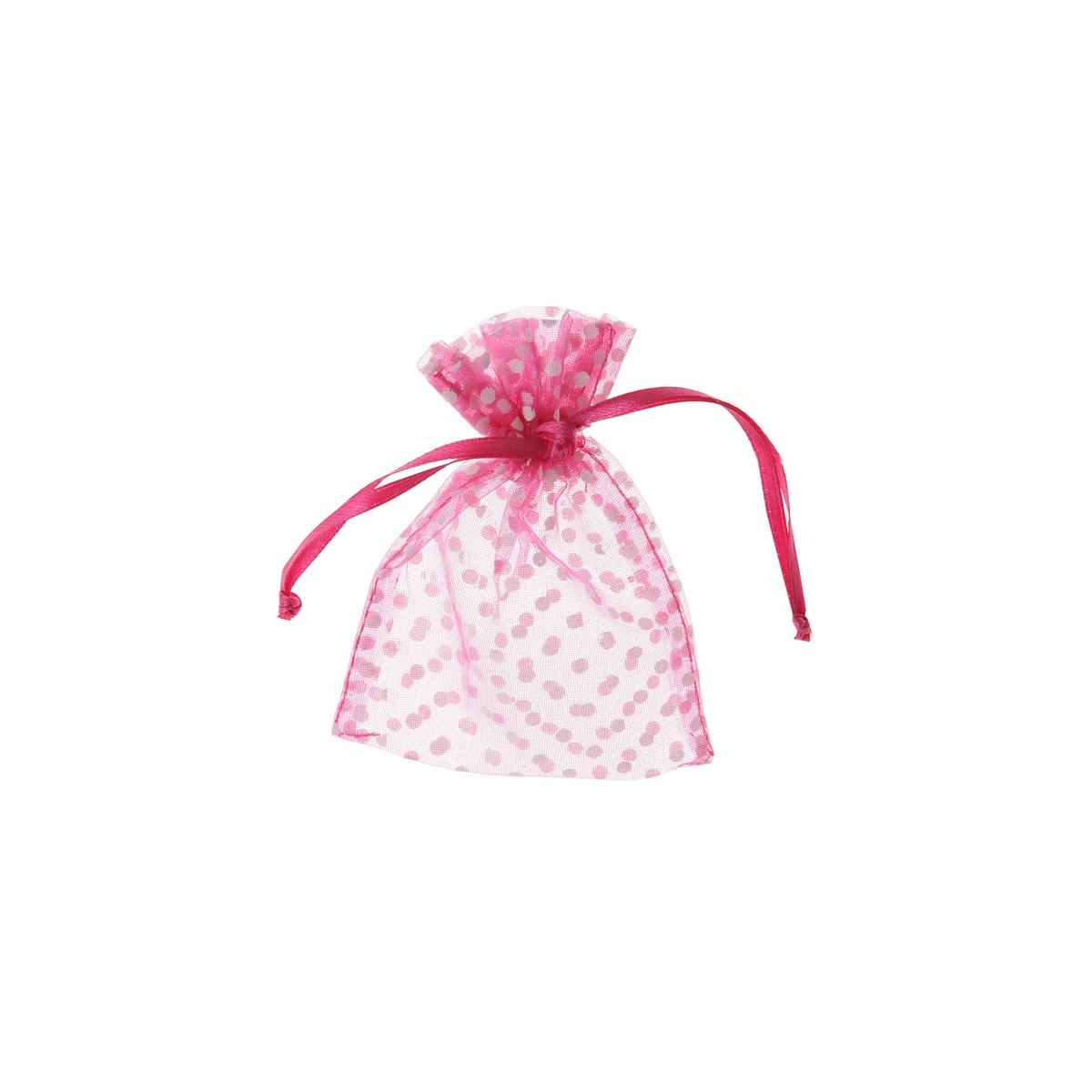 Sachet Dragées Pois x10 - Fuchsia