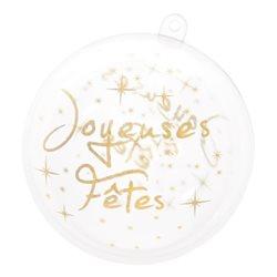 Boule Noel Joyeuses fetes - Or x2