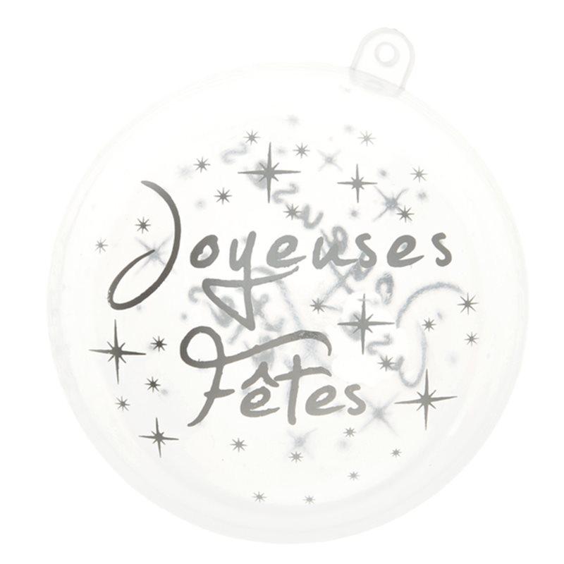 Boule Noel Joyeuses fêtes - Argent x2
