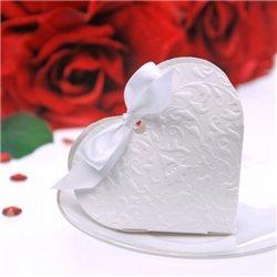 Boite Dragees Mariage Coeur Blanc x 10