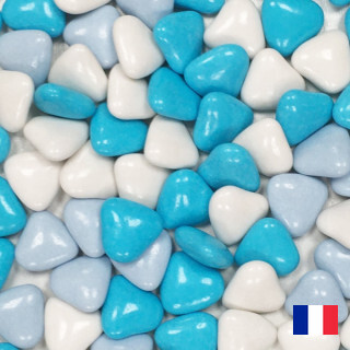 1kg Dragées Coeur Variation - Bleu