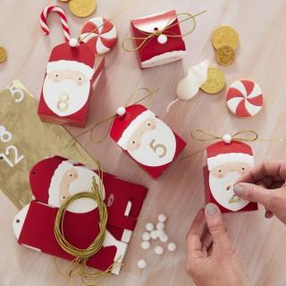 Calendrier de l'avent boites en forme de père Noël - DIY