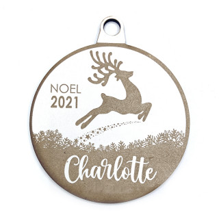 Boule de Noël personnalisable cerf blanc