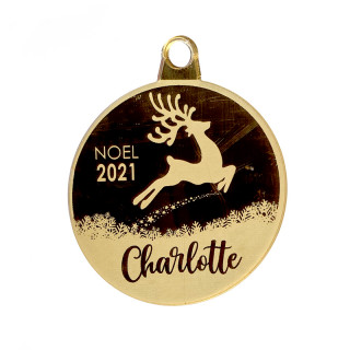 Boule de Noël personnalisable cerf or
