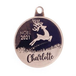 Boule de Noël personnalisable cerf rose gold