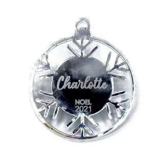 Boule de Noël personnalisable flocon ajouré argent