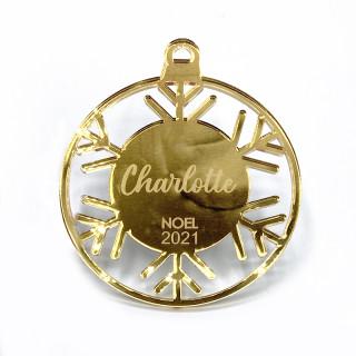 Boule de Noël personnalisable flocon ajouré or
