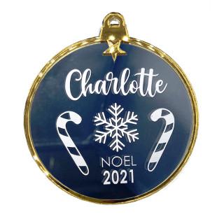 Boule Noël personnalisée miroir et or