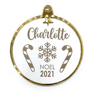 Boule Noël personnalisée blanche et or