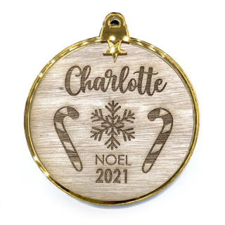 Boule de Noël personnalisée bois et or