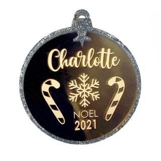 Boule Noël personnalisée miroir or et paillettes argent