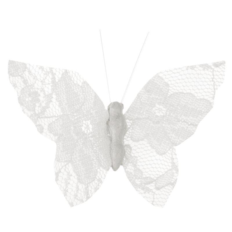 Papillon Dentelle Blanc x 4