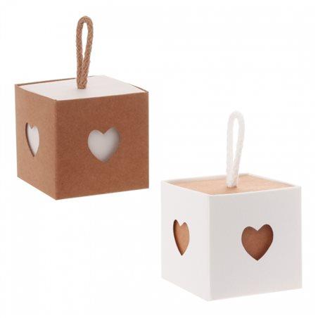 6x Contenant Cube Coeur Kraft et Blanc