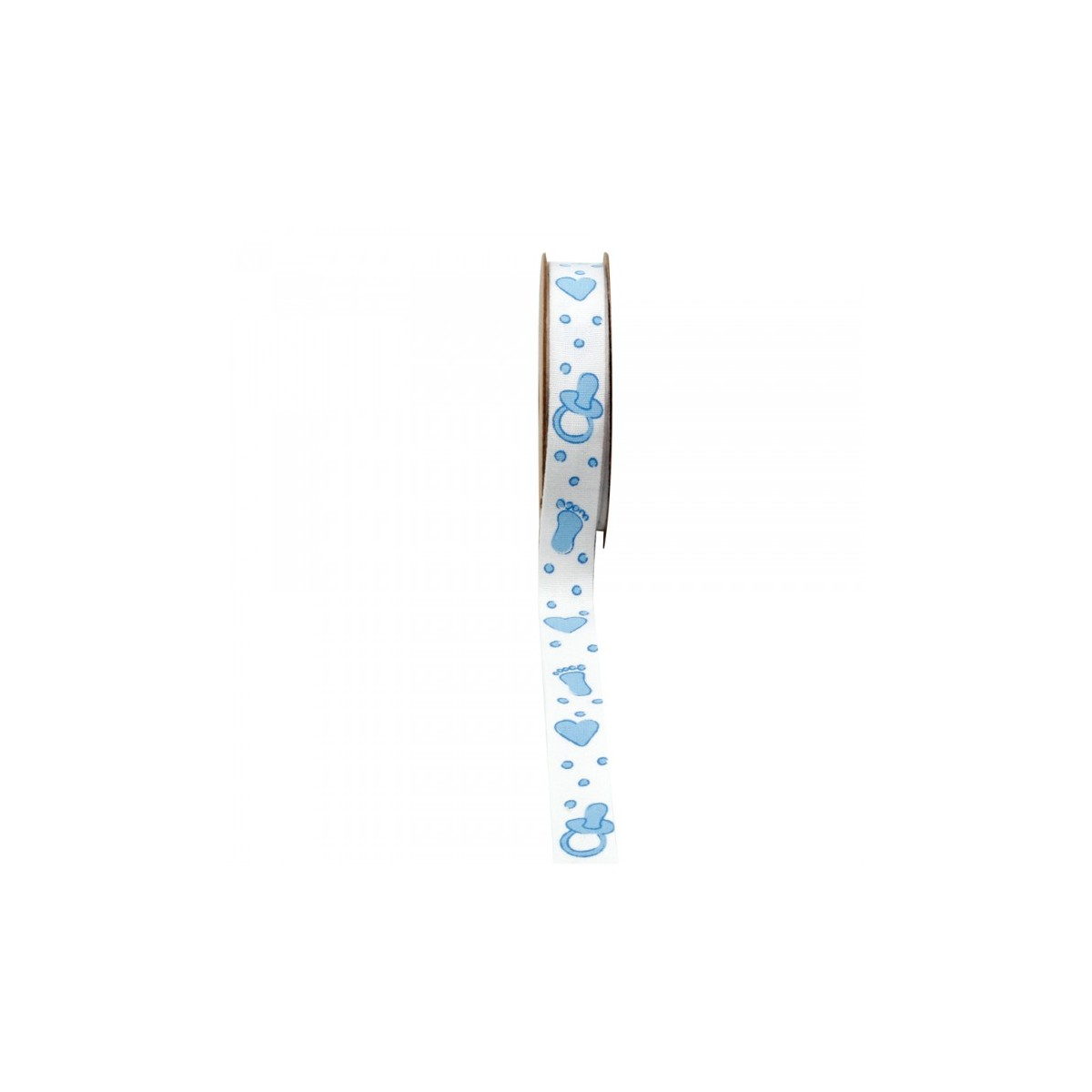 Ruban Naissance Bleu Coeur Pied