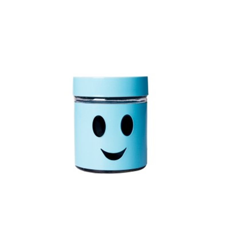 Pot Dragées Verre Smiley - Bleu