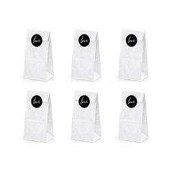 6x Sachet Dragées Papier Blanc + Etiquette Love